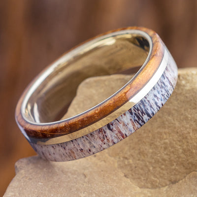 Whiskey Wood Ring with Deer Antler