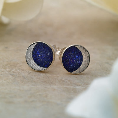 Meteorite and Lapis Earrings