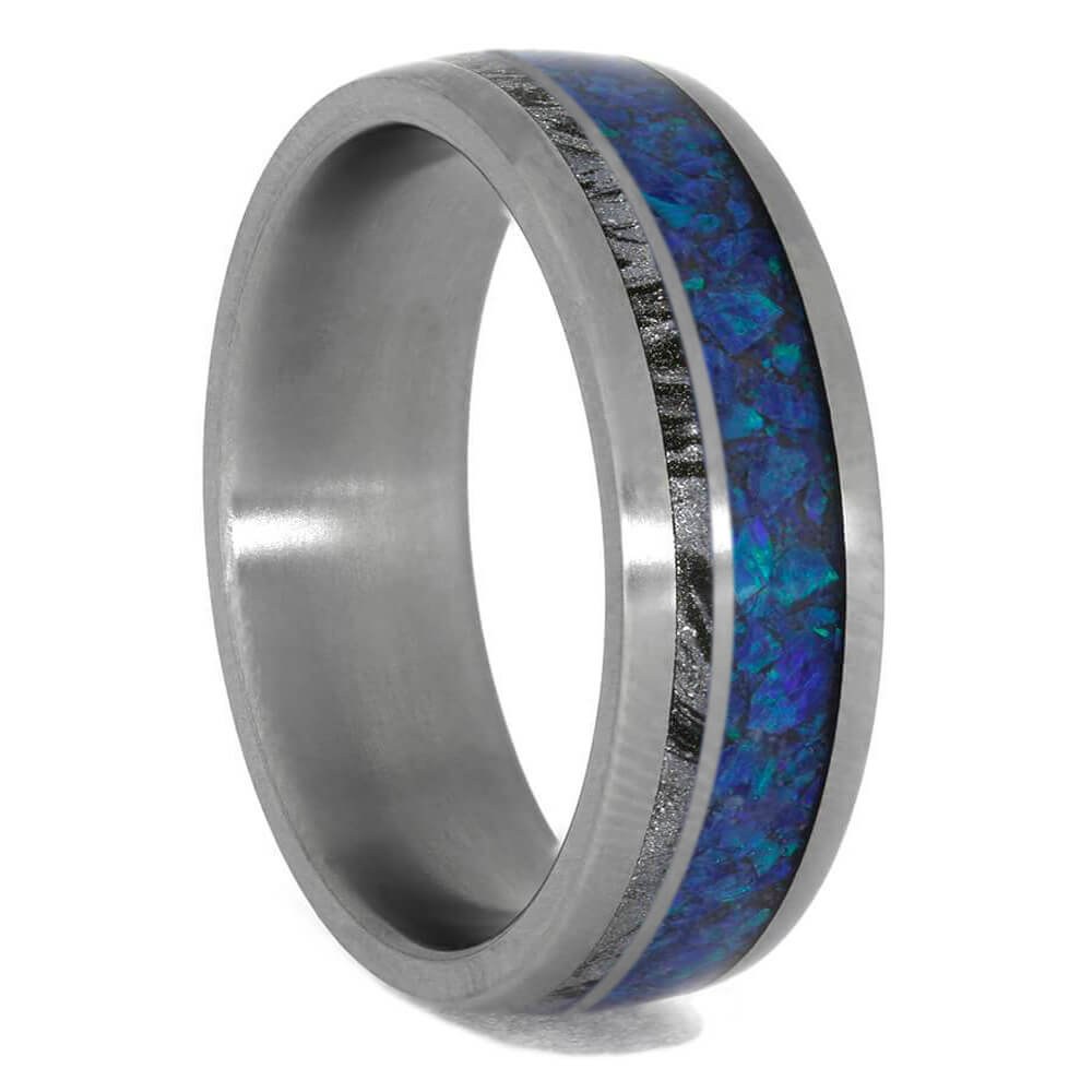 Mokume and Opal Wedding Band