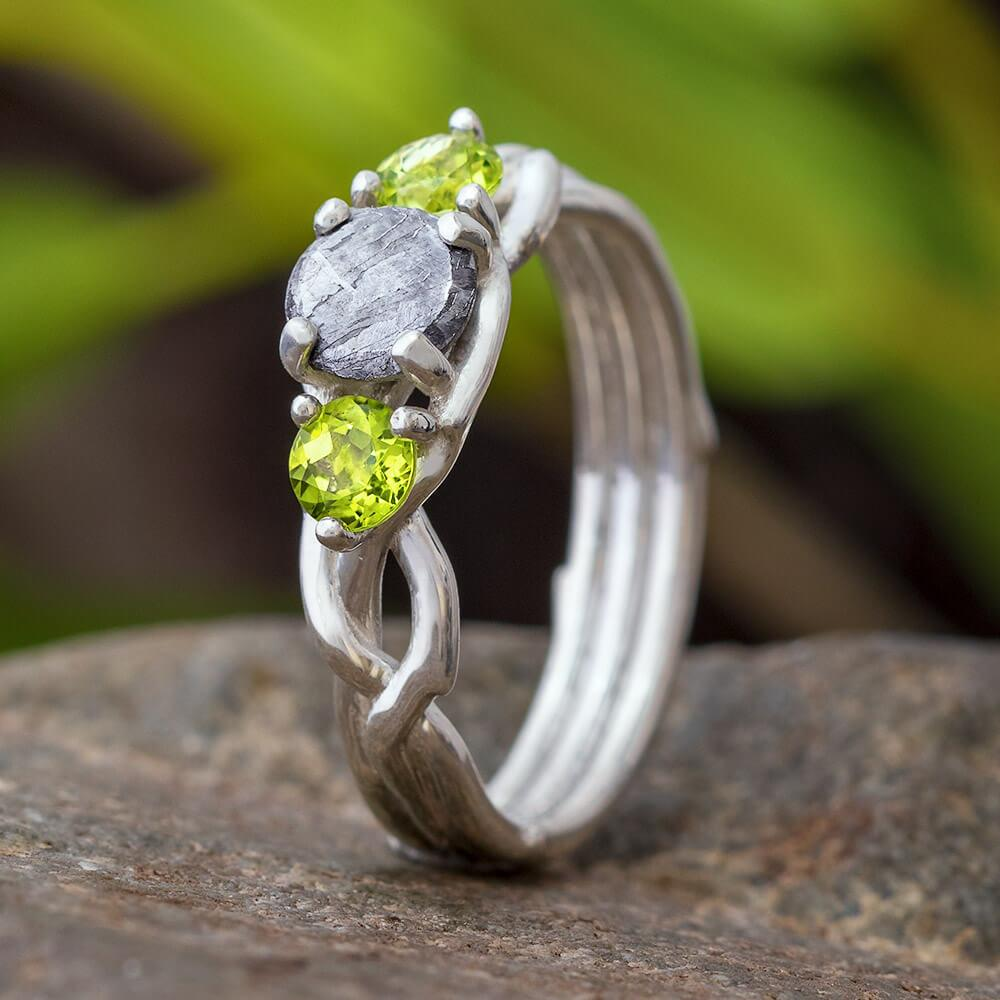 Peridot & Meteorite Stone Engagement Ring, In Stock-SIG3049 - Jewelry by Johan