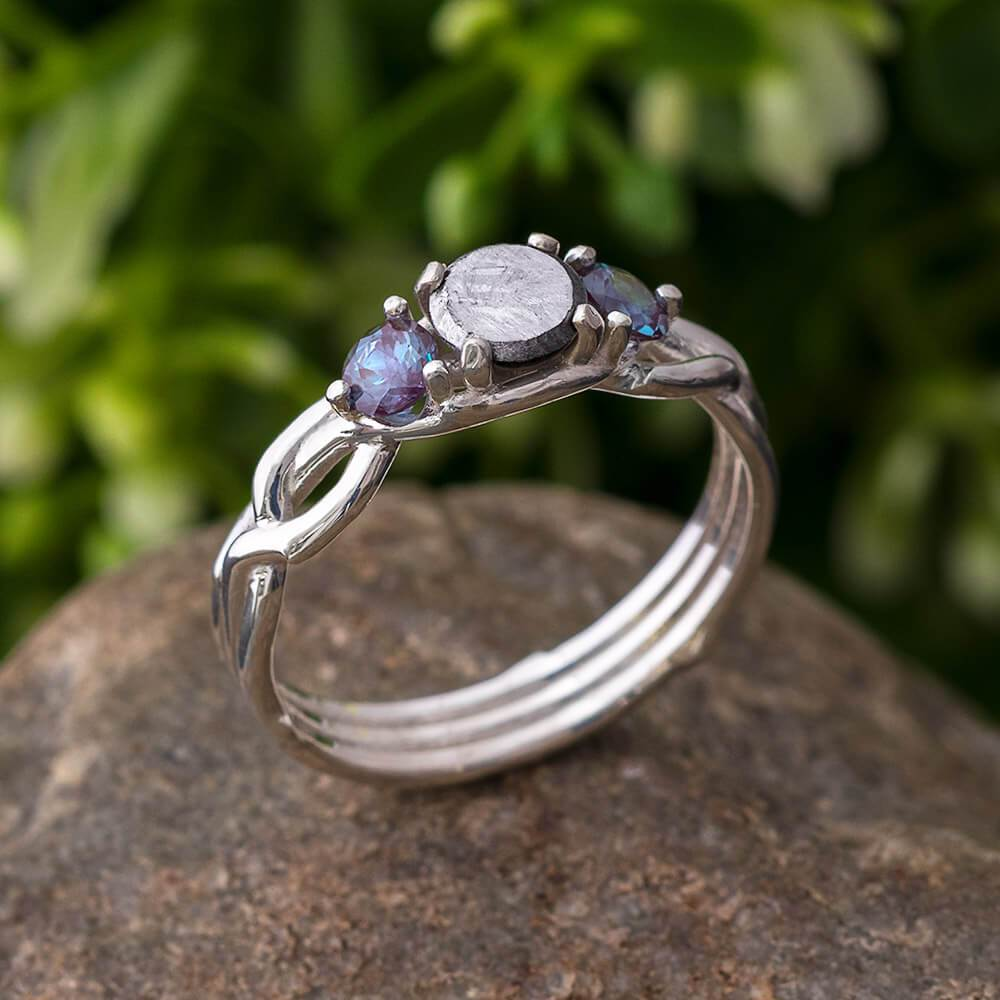 Alexandrite & Meteorite Engagement Ring, In Stock-SIG3049 - Jewelry by Johan