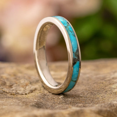Turquoise Wedding Band in White Gold