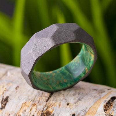 Faceted Wedding Band with Wood Sleeve