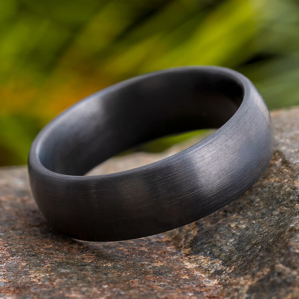 Brushed Black Zirconium Men's Ring with Round Profile-4520-BR - Jewelry by Johan