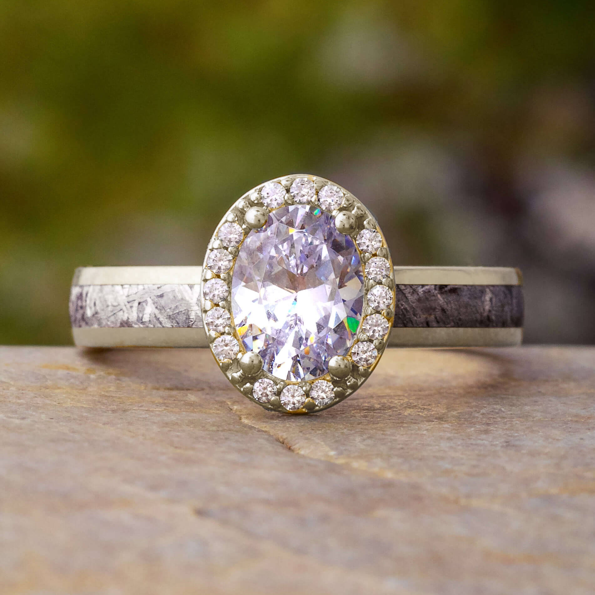 Oval Halo Moissanite & Meteorite Engagement Ring-4542 - Jewelry by Johan