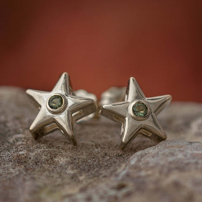 Moldavite Star Earrings