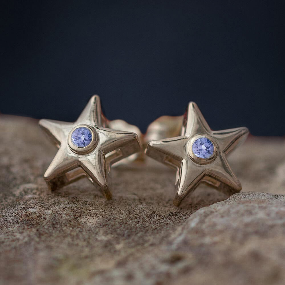 December Birthstone Stud Earrings with Tanzanite-4650TN - Jewelry by Johan