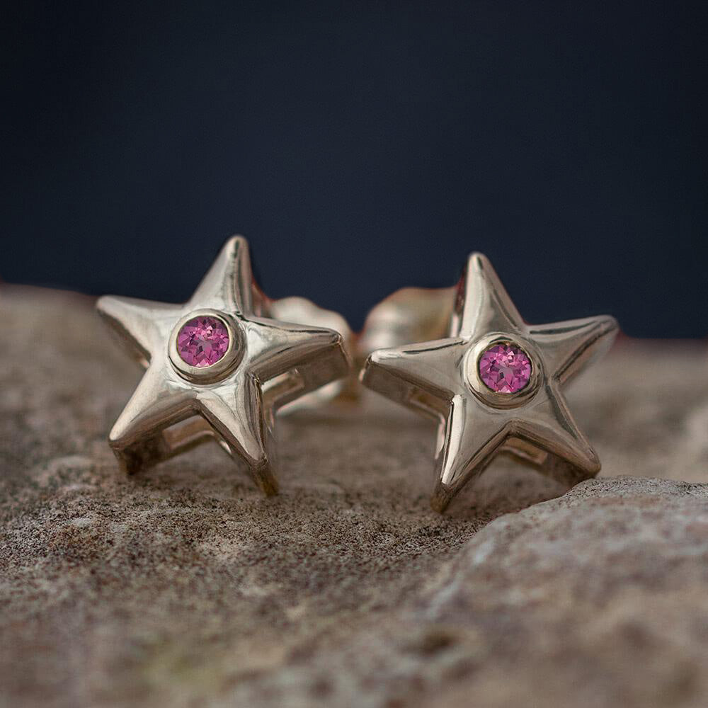 October Birthstone Gold Star Earrings with Pink Tourmaline-4650TO - Jewelry by Johan