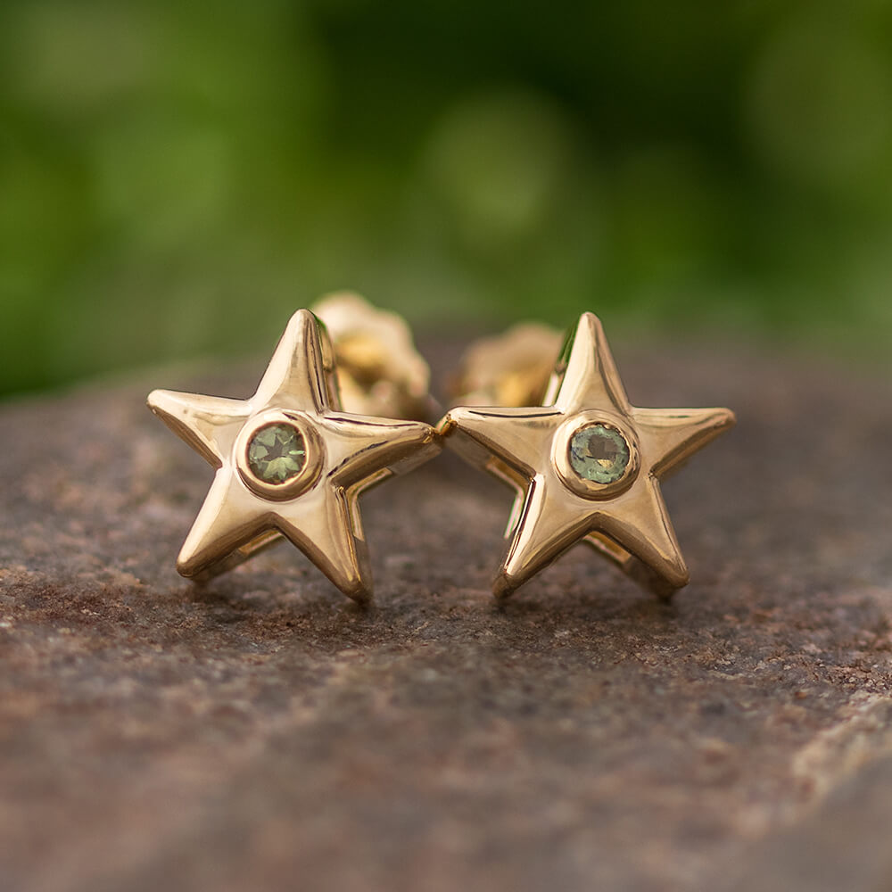 Moldavite Star Stud Earrings In Yellow, White or Rose Gold-4650ML - Jewelry by Johan