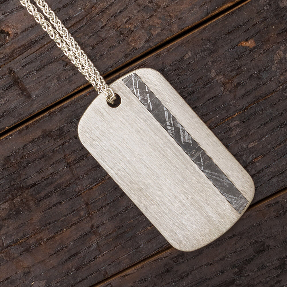 Dog Tag Necklace with Gibeon Meteorite Inlay-4727 - Jewelry by Johan