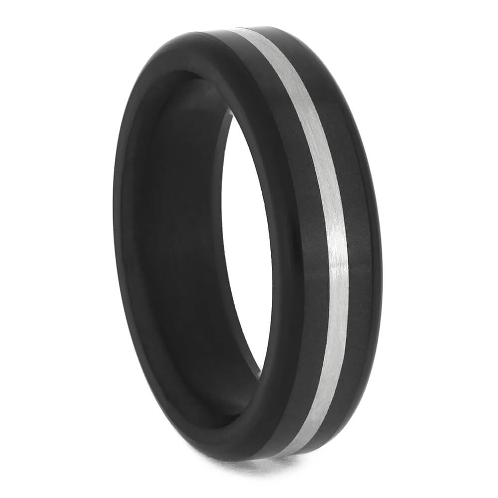 Men's Elysium Wedding Band with Platinum Pinstripe-ELY-E8B - Jewelry by Johan