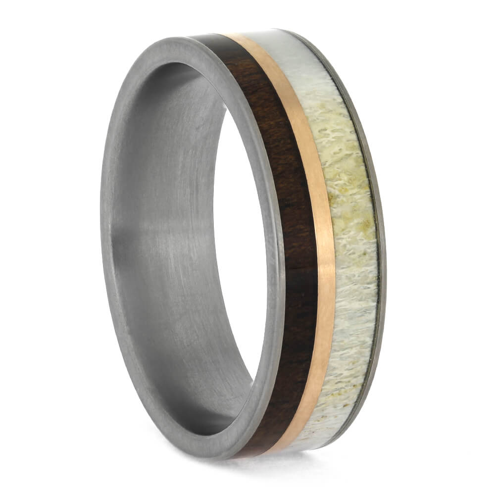 Titanium and Koa Wood Ring with Antler