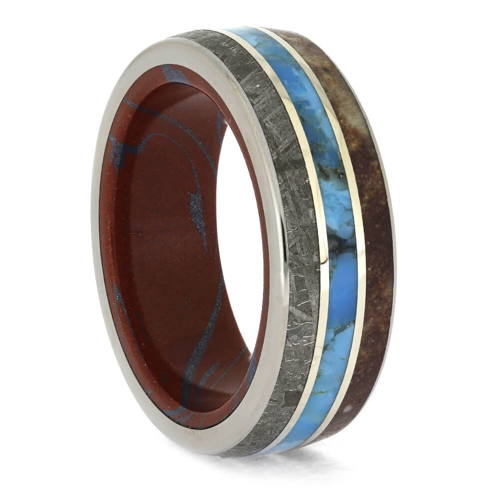 Meteorite, Fossil and Turquoise Wedding Band, Size 11-RS11191 - Jewelry by Johan