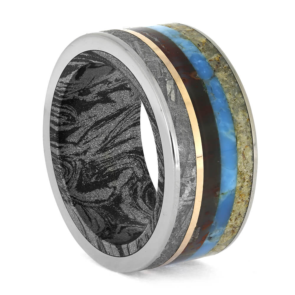 Meteorite Ring with Petrified Wood and Fossil Inlays, Size 8.5-RS11204 - Jewelry by Johan