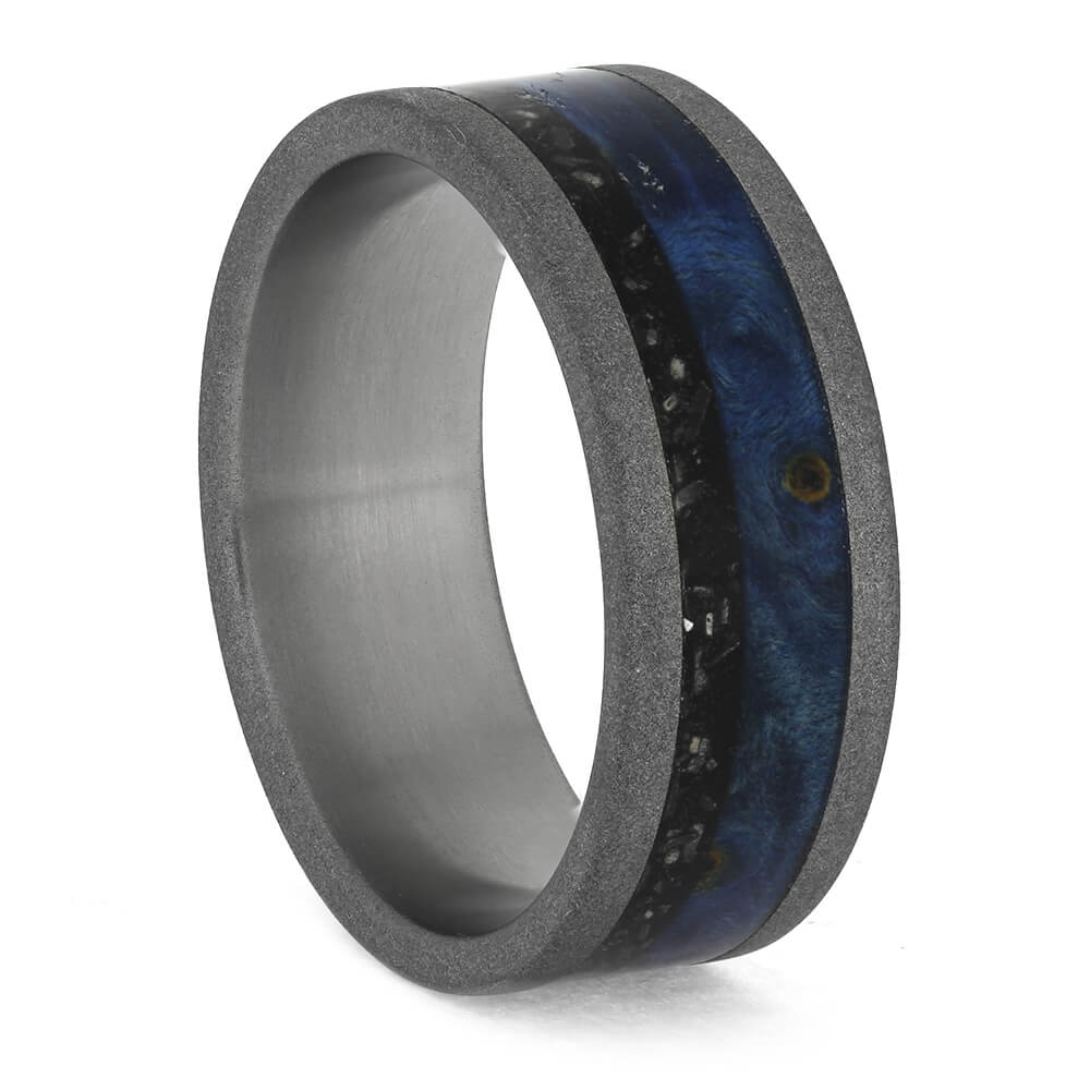 Black Stardust™ Wedding Band With Blue Box Elder, Size 9.5-RS11209 - Jewelry by Johan