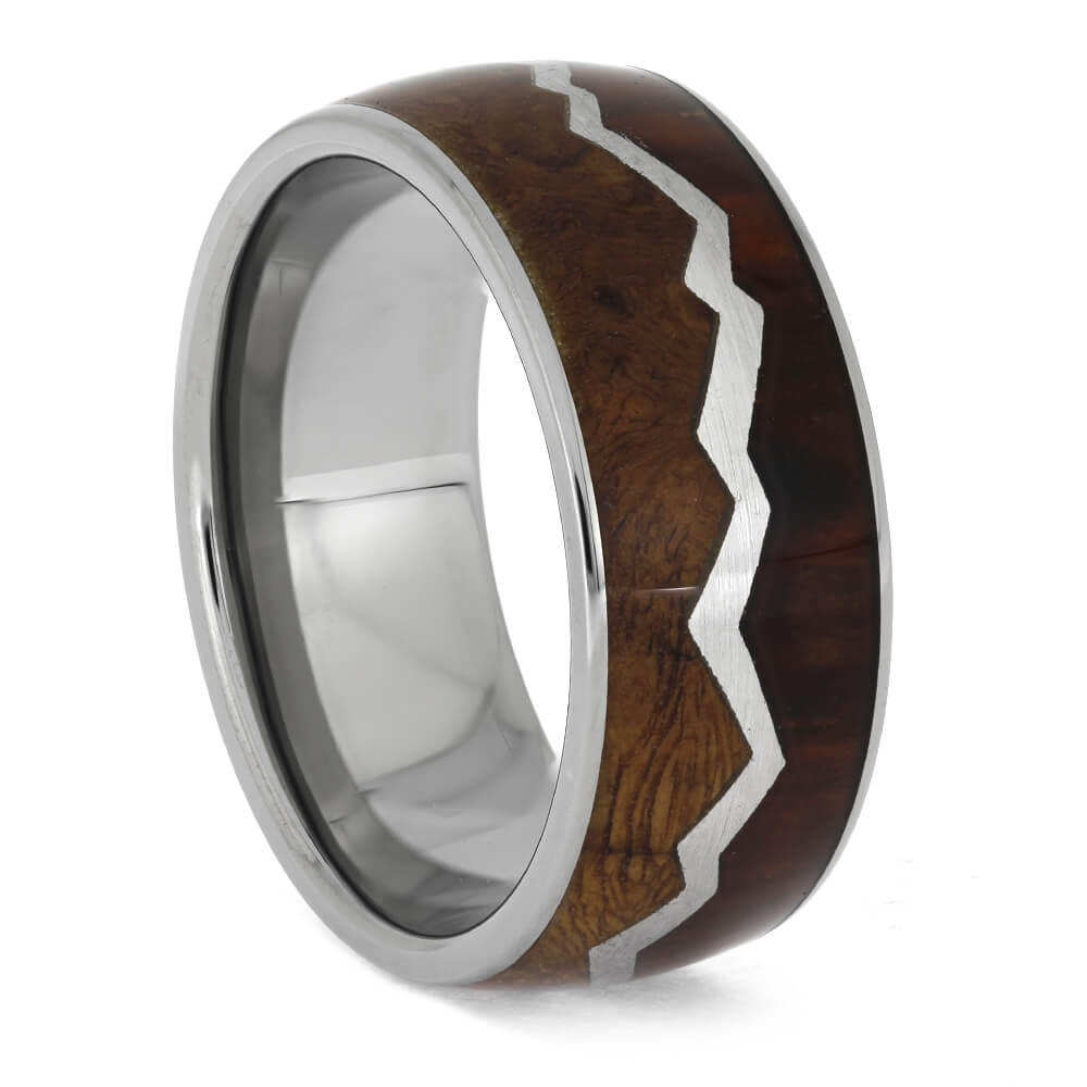Wood Ring with Mountain Range Design, Size 10-RS11210 - Jewelry by Johan