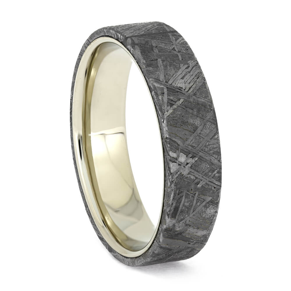 Meteorite Wedding Band with White Gold