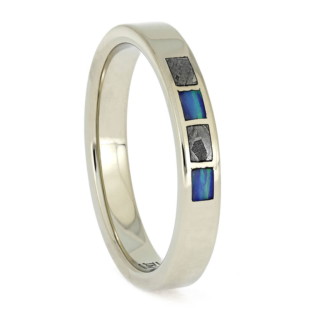 White Gold and Meteorite Wedding Band