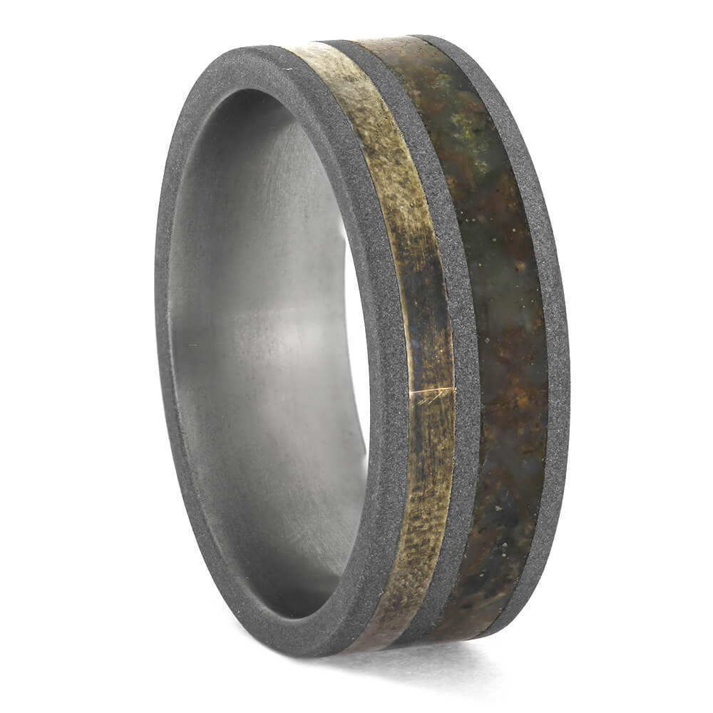 Men's Dinosaur Bone Wedding Band in Titanium, Size 10.5-RS11235 - Jewelry by Johan
