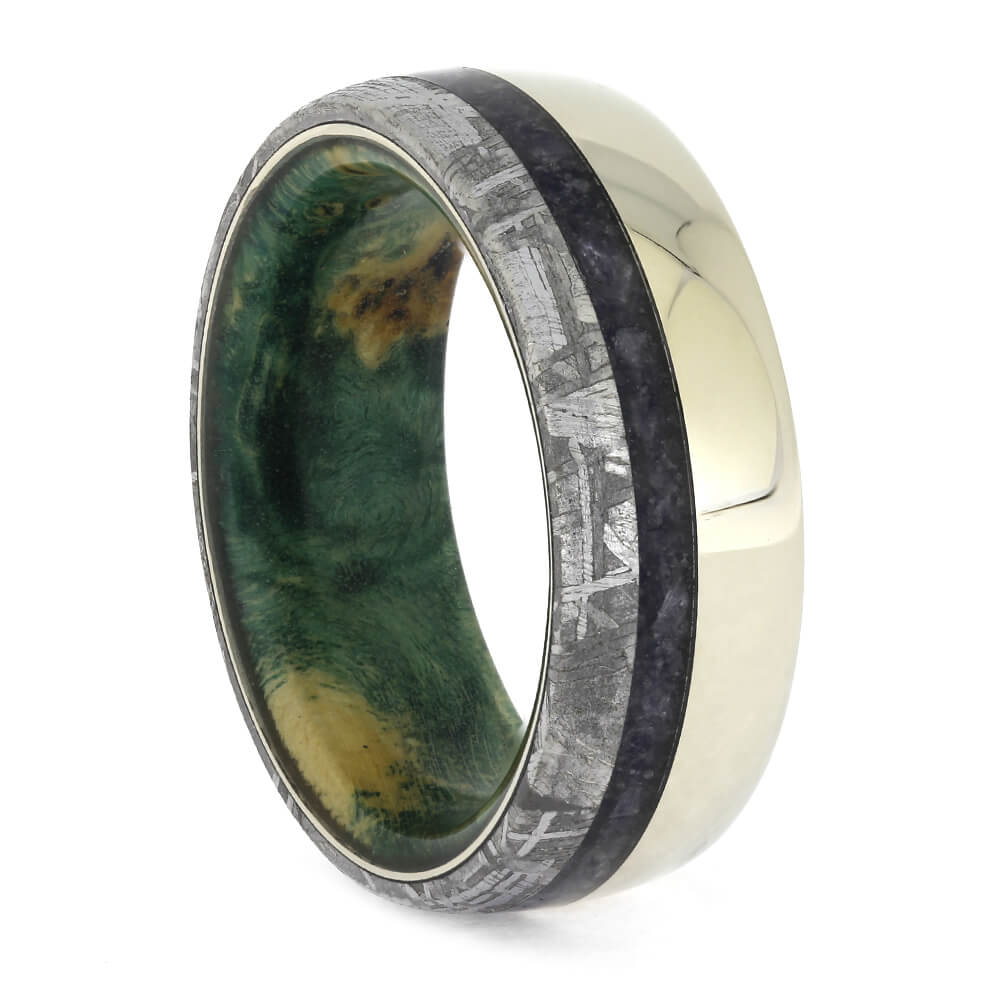 Sapphire Wedding Band with Green Wood and Meteorite, Size 6.5-RS11283 - Jewelry by Johan