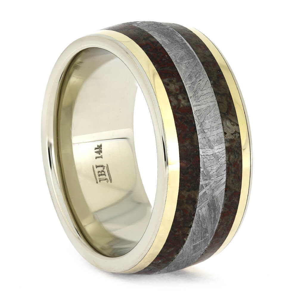 White Gold Wedding Ring with Meteorite and Dinosaur Bone