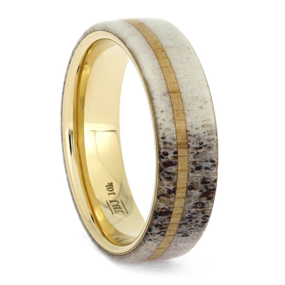Deer Antler and Oak Wood Wedding Ring, Size 9-RS11303 - Jewelry by Johan
