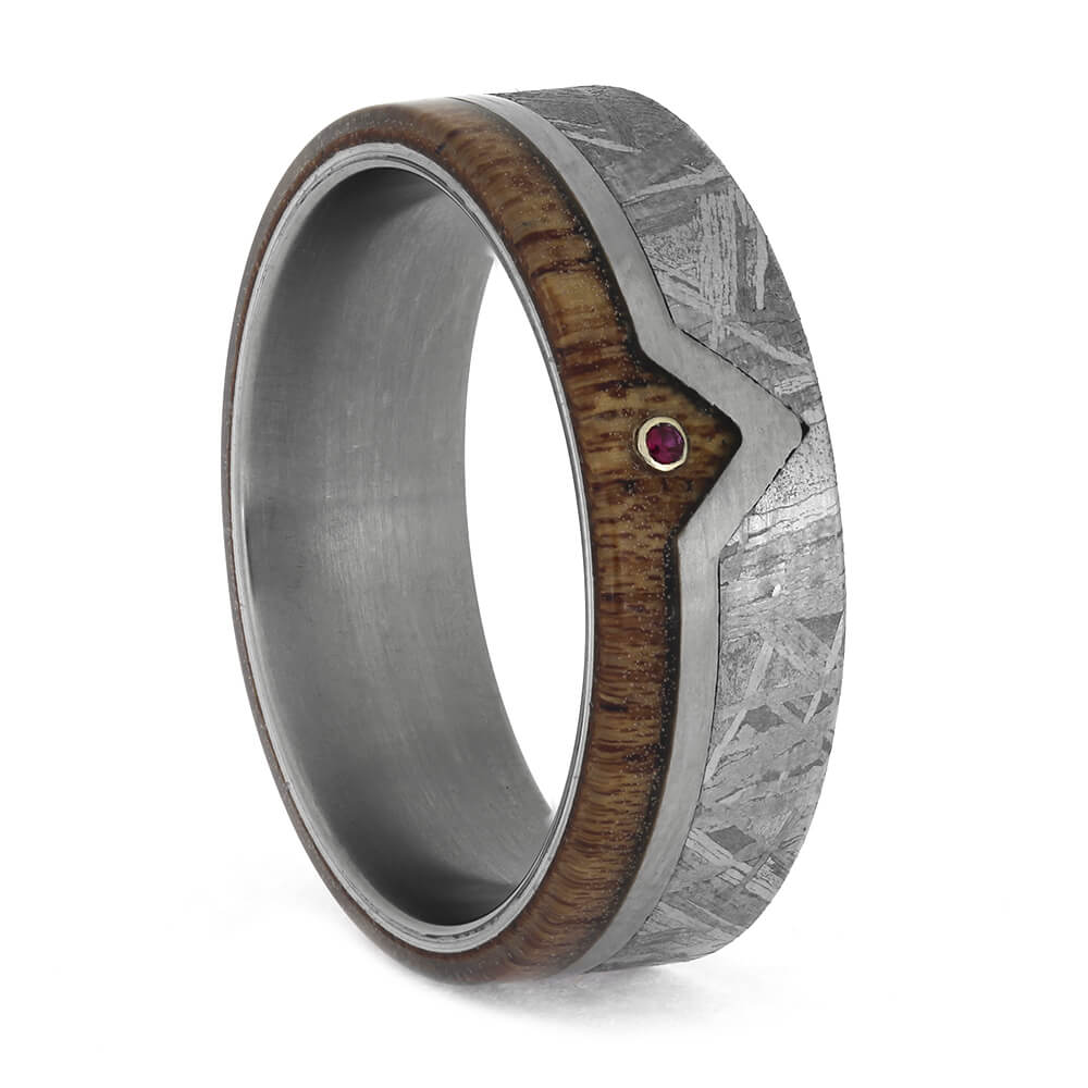 Men's Ruby Wedding Band with Wood and Meteorite, Size 9.5-RS11315 - Jewelry by Johan