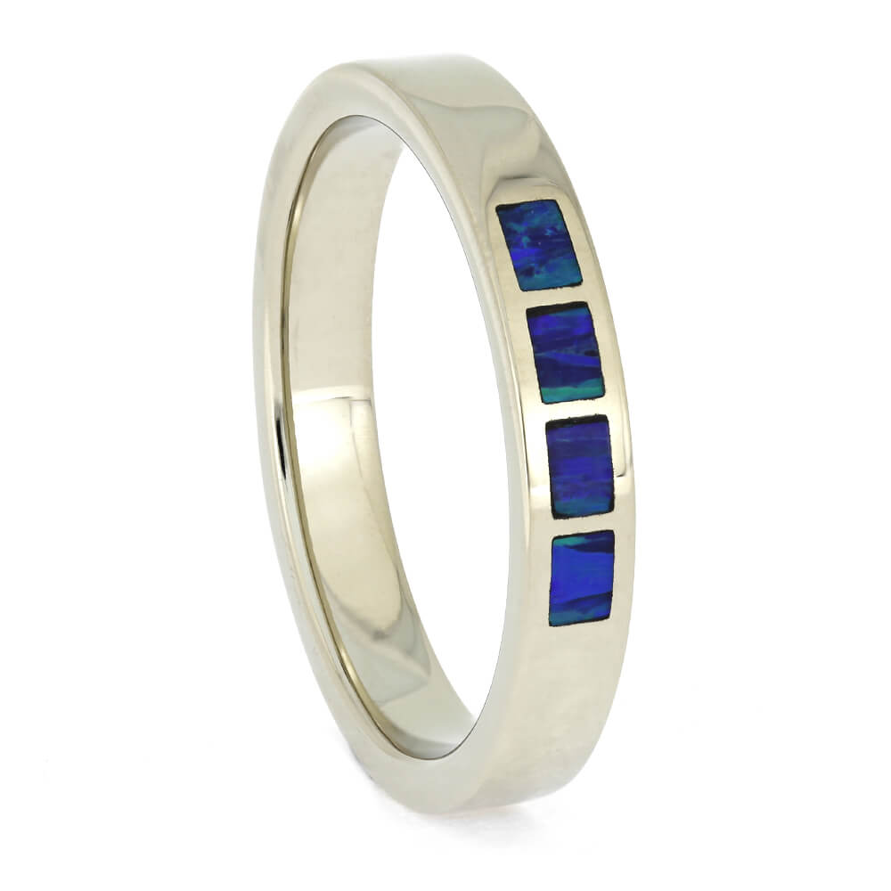 Blue Opal Men's Wedding Band in White Gold, Size 9.75-RS11316 - Jewelry by Johan