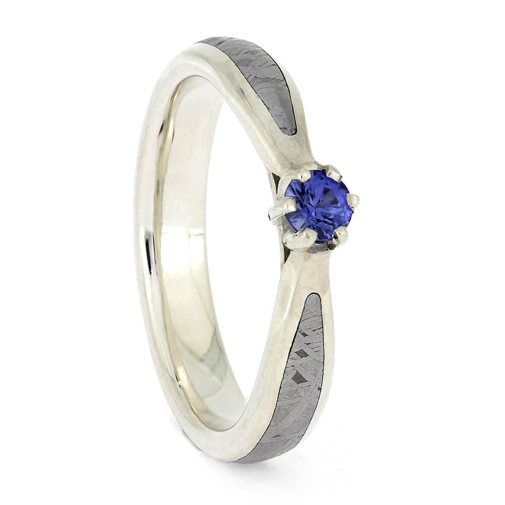 Sapphire Wedding Ring with Meteorite