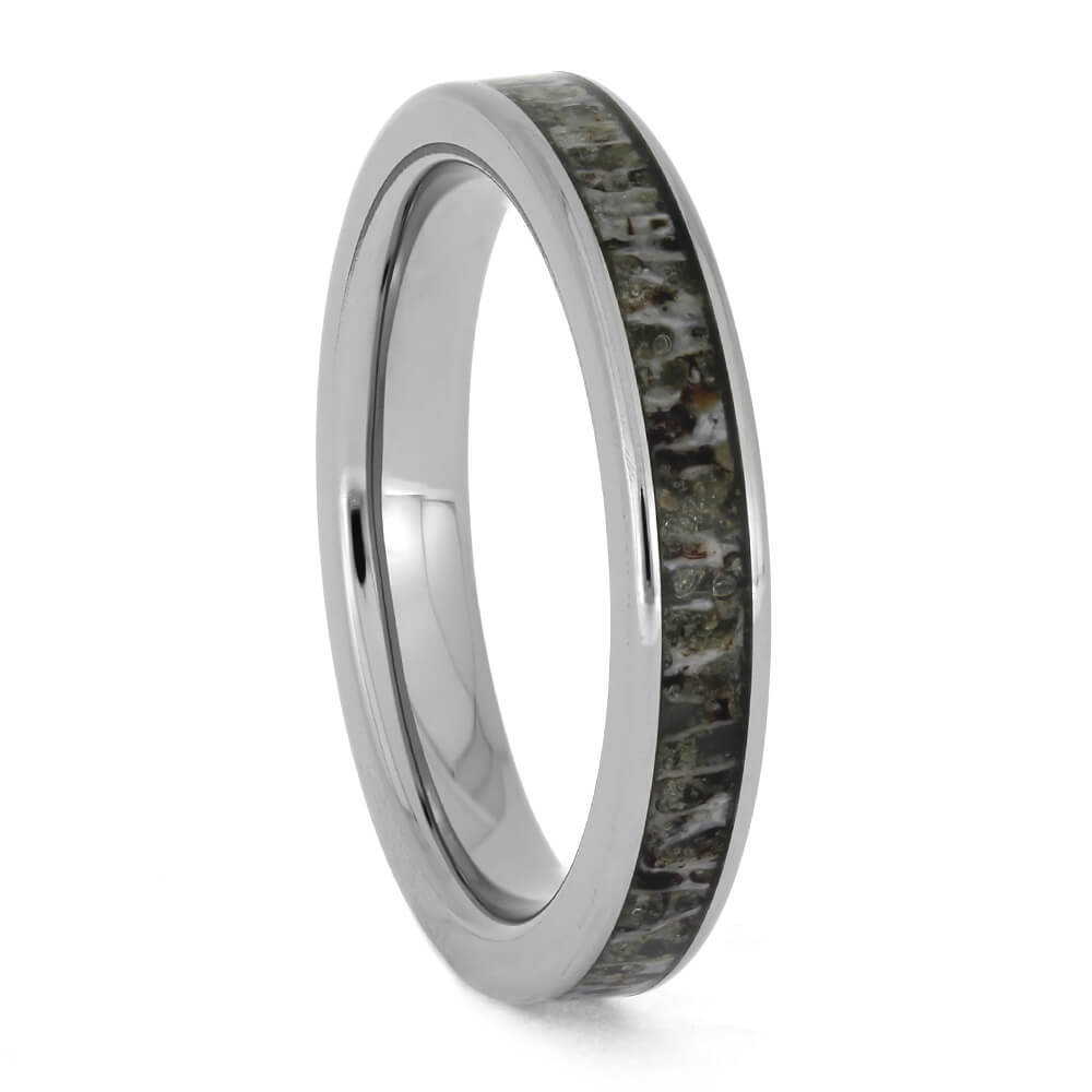 Women's Wedding Band With Deer Antler Inlay, Size 4.25-RS11328 - Jewelry by Johan