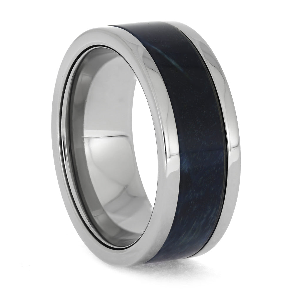 Blue Wood Ring in Titanium
