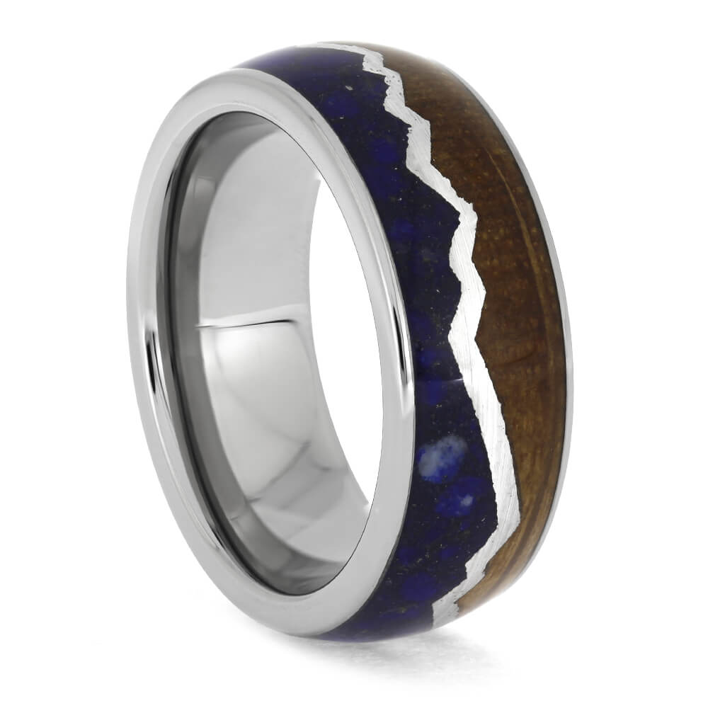 Mountain Ring with Whiskey Barrel Oak and Lapis Lazuli, Size 8.25-RS11330 - Jewelry by Johan