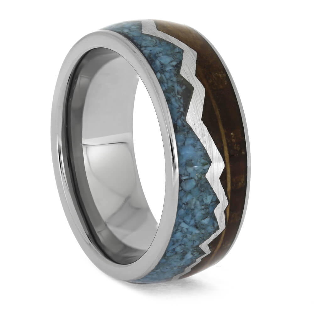 Mountain Wedding Band with Turquoise and Whiskey Barrel Oak, Size 8.25-RS11331 - Jewelry by Johan