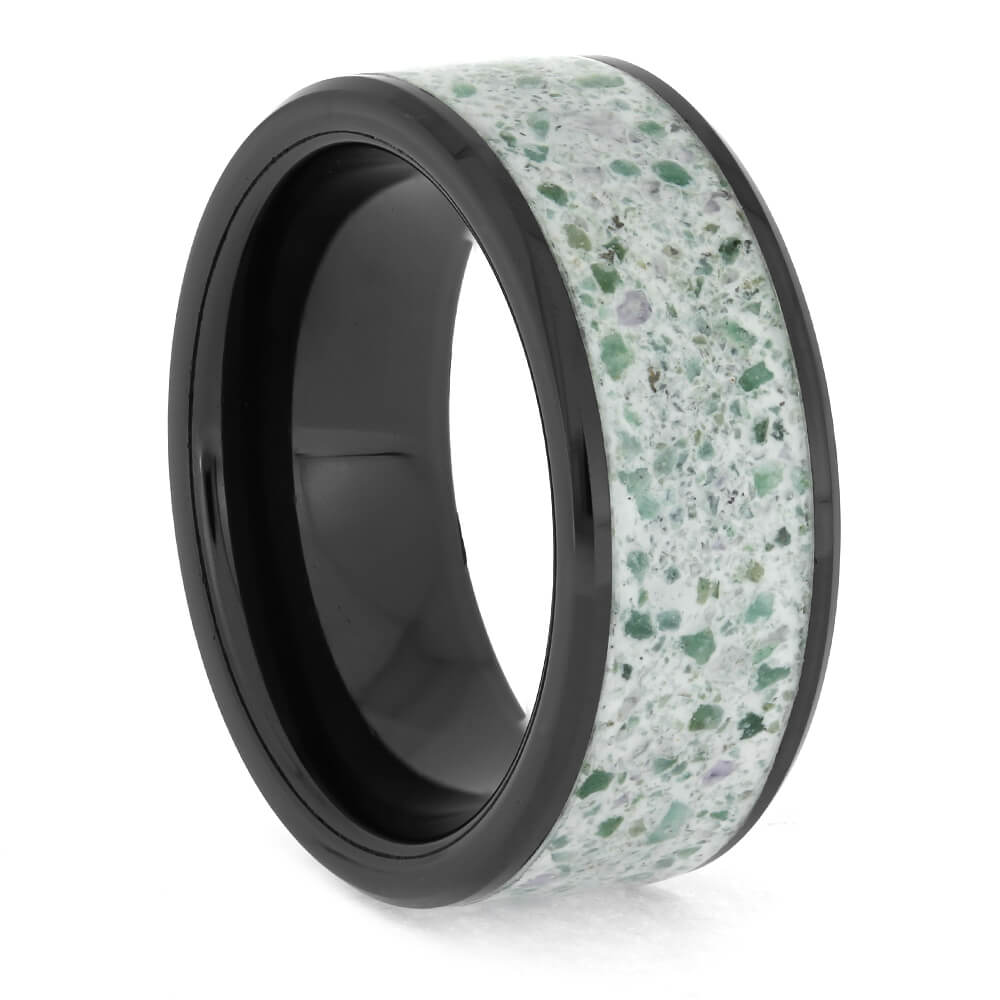 Crushed Emerald and Amethyst Wedding Band, Size 6.75-RS11341 - Jewelry by Johan