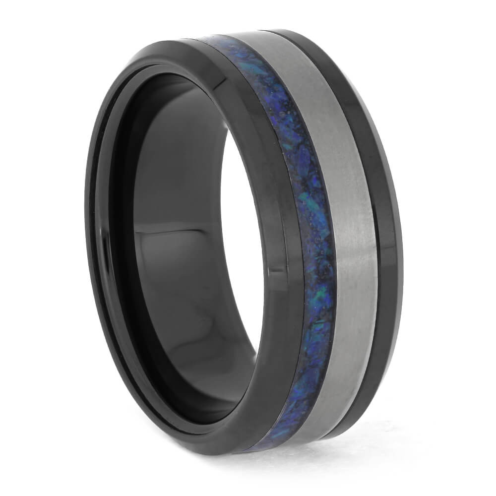 Black Wedding Band with Blue Opal Inlay, Size 7.75-RS11348 - Jewelry by Johan