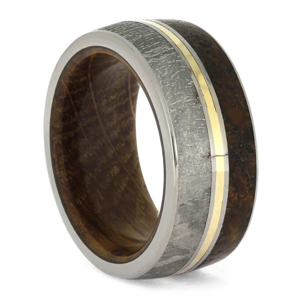 Meteorite Wedding Band with Whiskey Barrel Sleeve and Fossil Inlay, Size 9-RS11357 - Jewelry by Johan