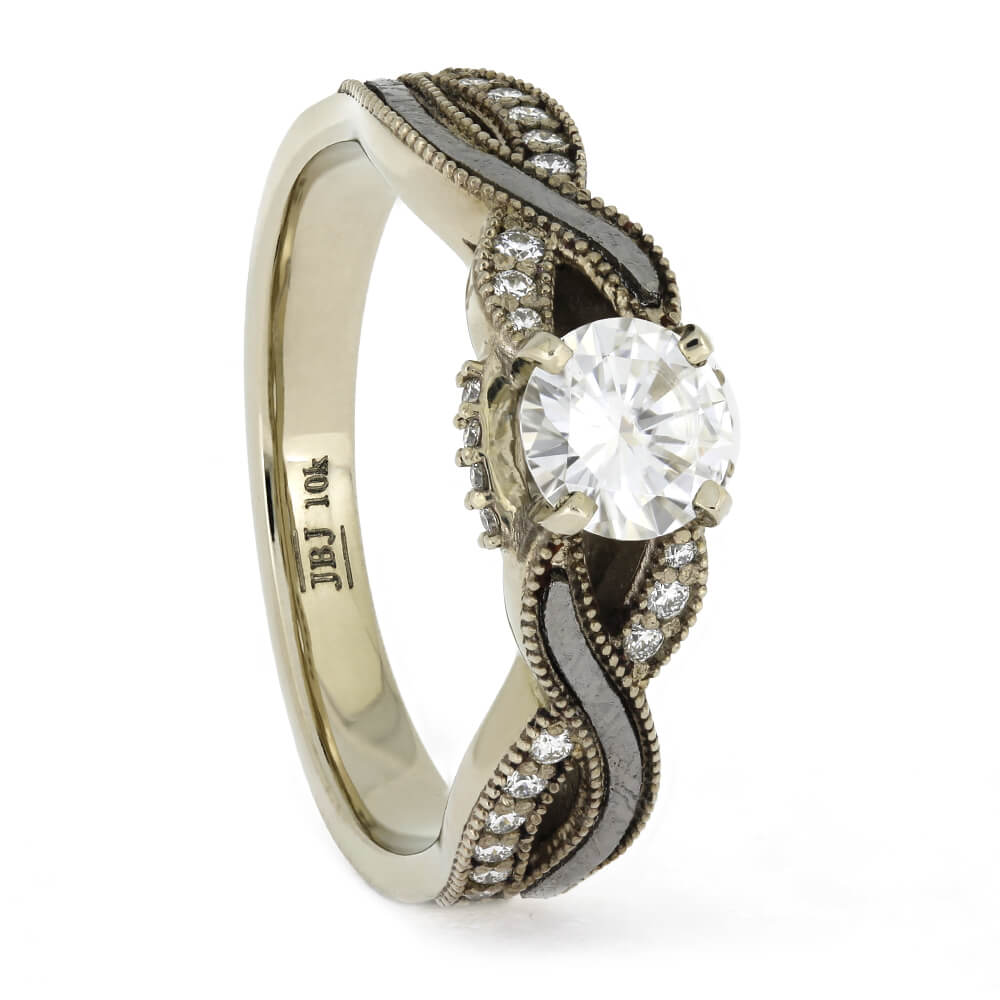 Diamond and Meteorite Engagement Ring With Twist, Size 10-RS11360 - Jewelry by Johan