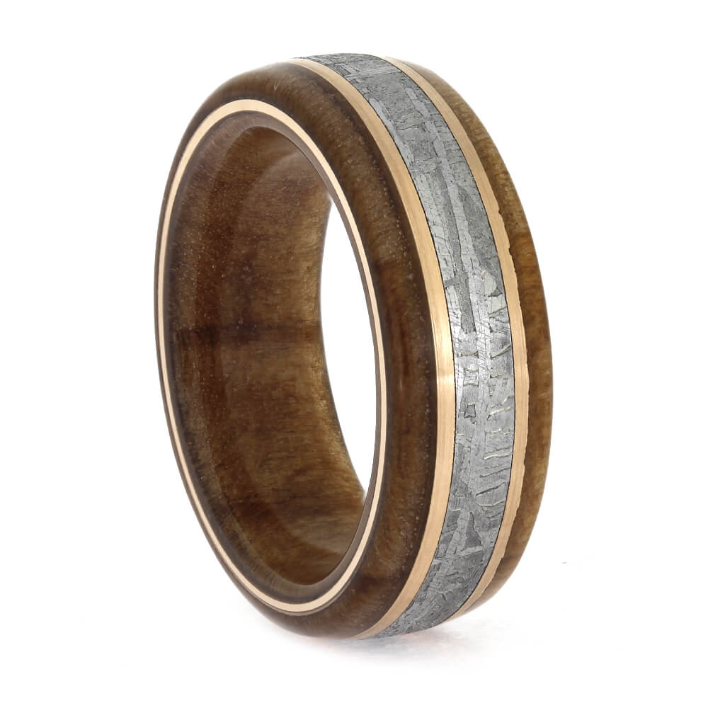 Women's Redwood Wedding Ring with Meteorite, Size 5-RS11363 - Jewelry by Johan
