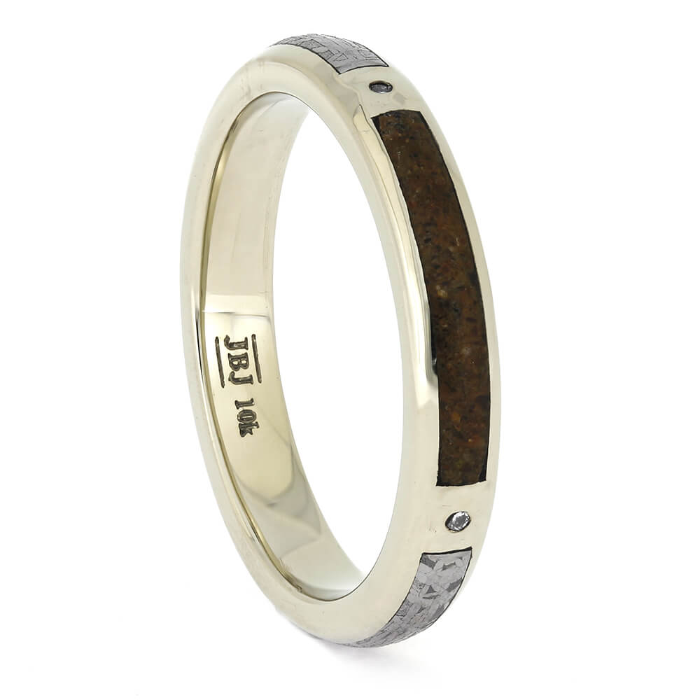 Meteorite Wedding Band with Dinosaur Bone, Size 8.5-RS11364