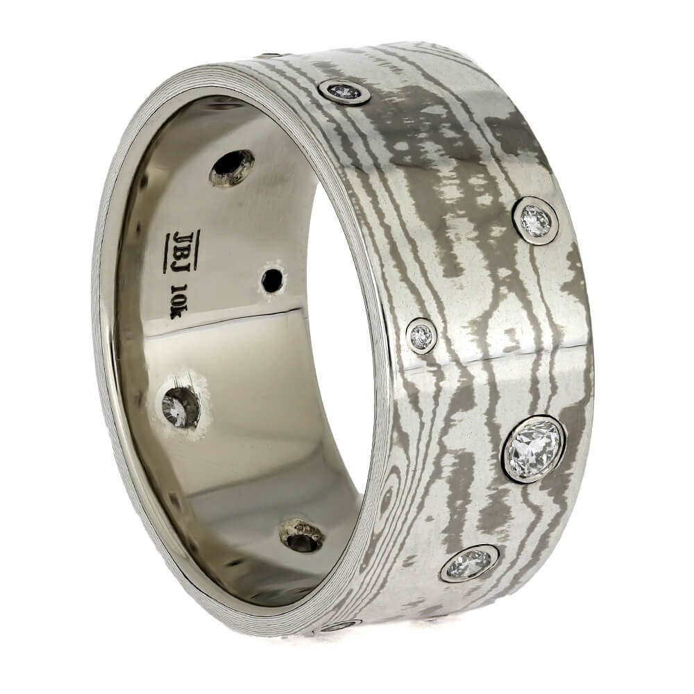 Diamond Wedding Band with Mokume Gane, Size 11-RS11370 - Jewelry by Johan