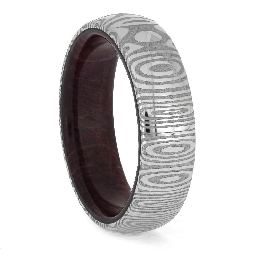 Damascus Steel Ring with Purple Heart Wood Sleeve, Size 7-RS11373