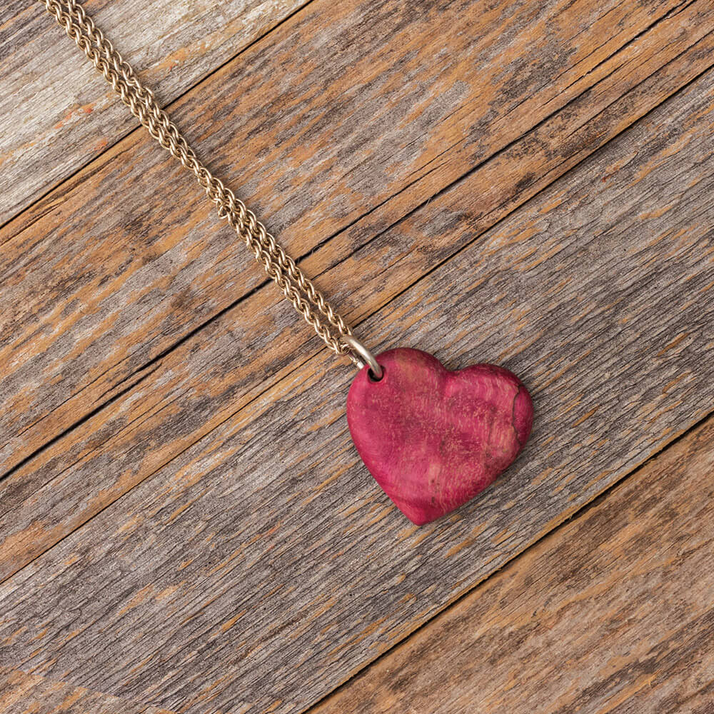 Wood Heart Pendant made with Magenta Box Elder-RS9734 - Jewelry by Johan