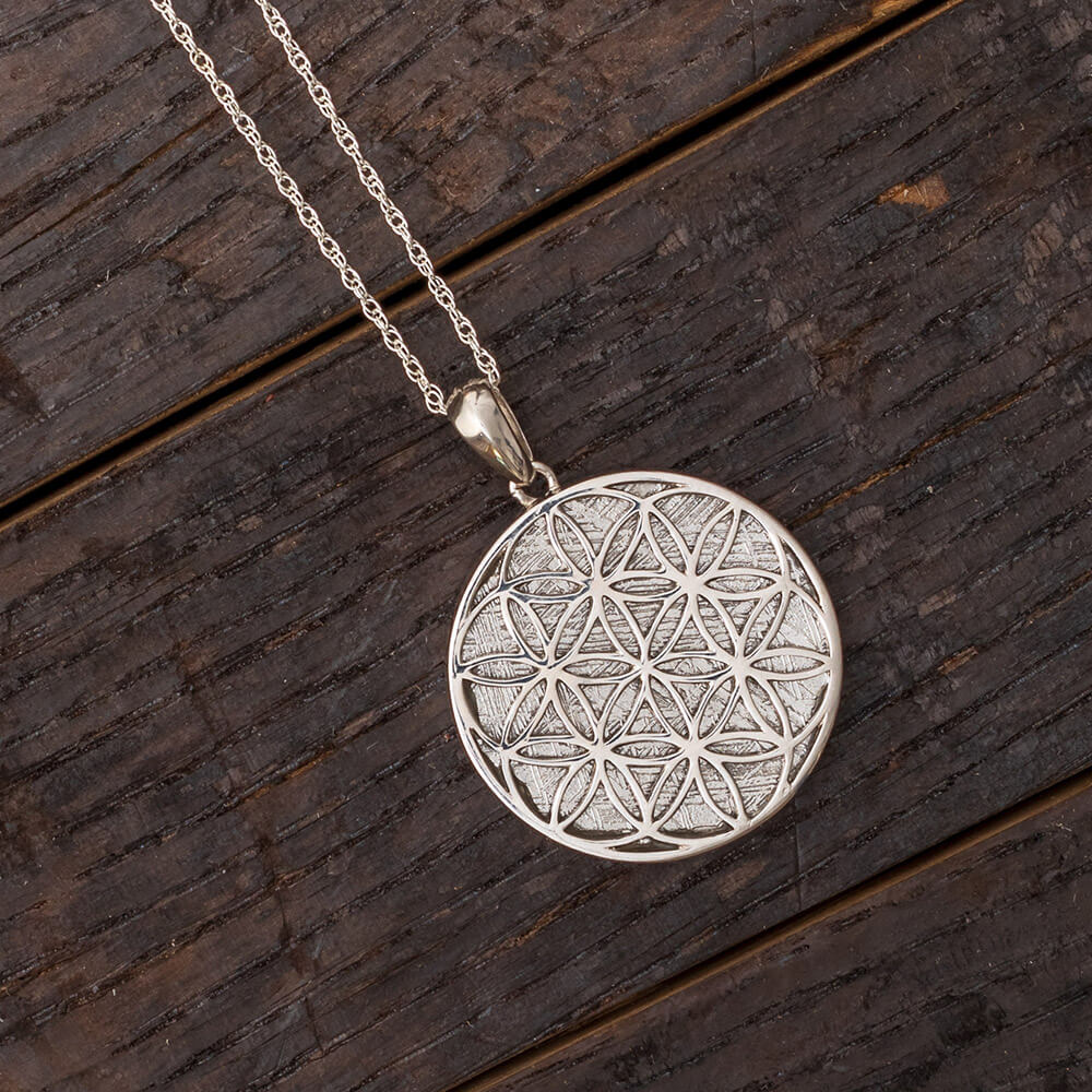 Muonionalusta Meteorite Flower of Life Necklace-RSSB0131 - Jewelry by Johan