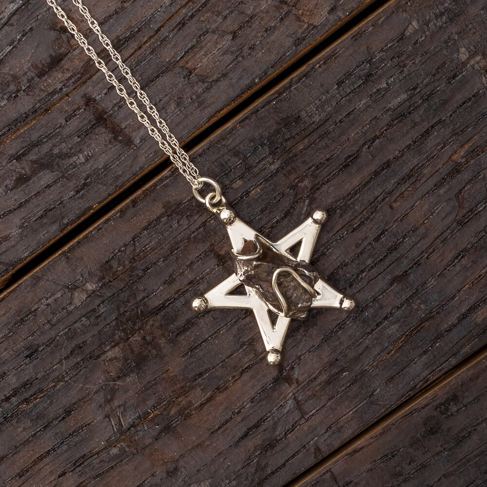 "18"" Star Necklace With Campo Del Cielo Meteorite, In Stock-RSSB791 - Jewelry by Johan"