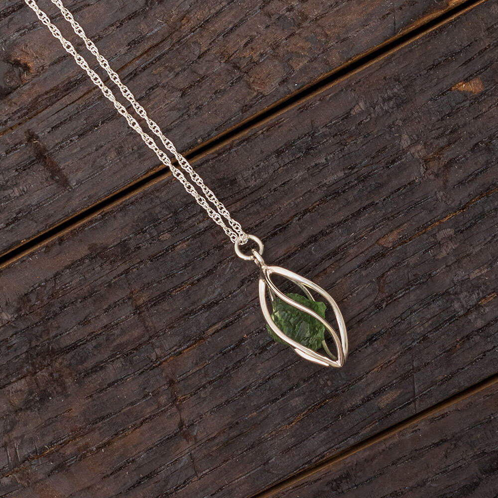 Rough Moldavite Nekclace in Sterling Silver, In Stock-RSSB89 - Jewelry by Johan