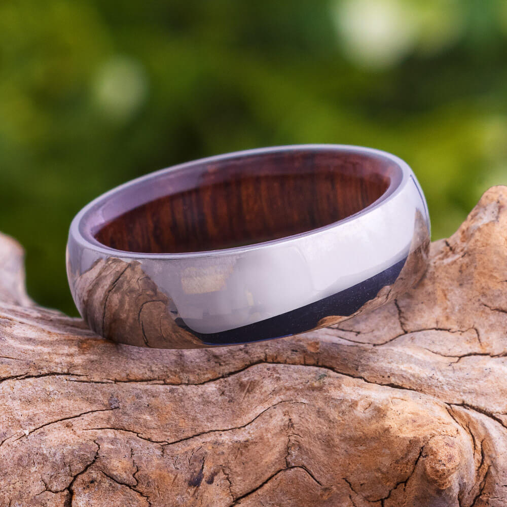 Ironwood Ring With Polished Titanium Overlay, In Stock-SIG3004 - Jewelry by Johan