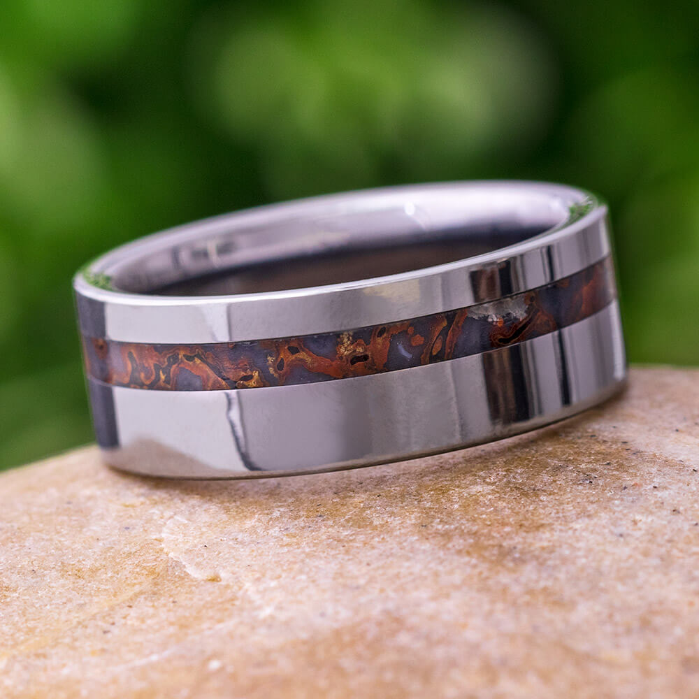 Tungsten Dinosaur Fossil Men's Wedding Band, In Stock-SIG3009 - Jewelry by Johan