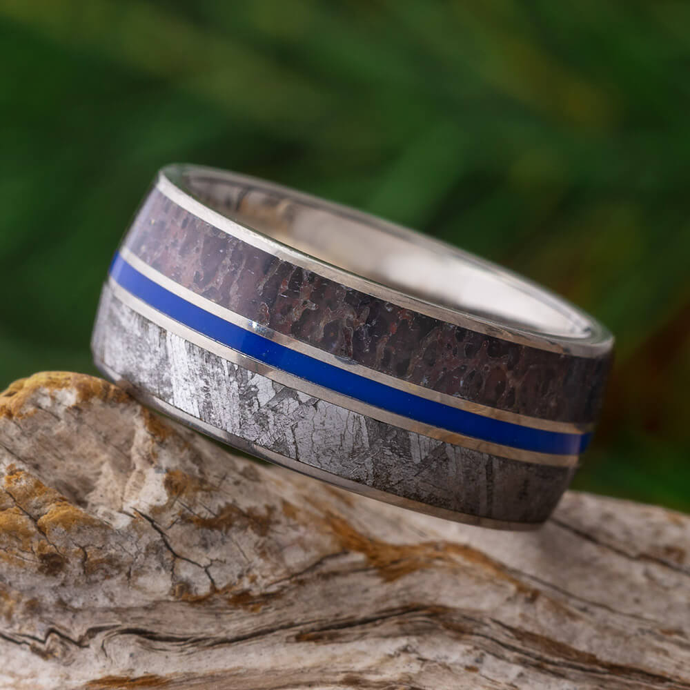 Meteorite & Dinosaur Fossil Men's Wedding Band With Blue Stripe-SIG3010 - Jewelry by Johan