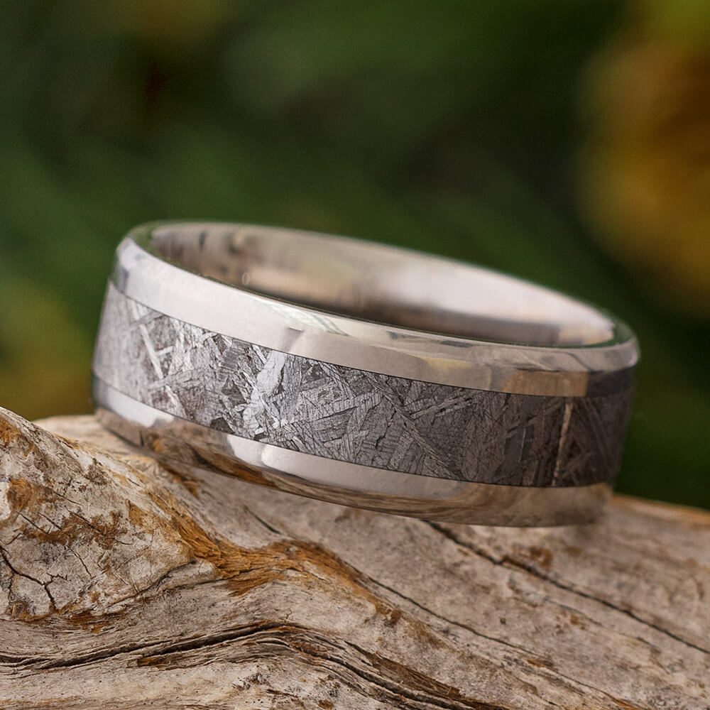 Men's Gibeon Meteorite Wedding Band With Beveled Edges-SIG3012 - Jewelry by Johan