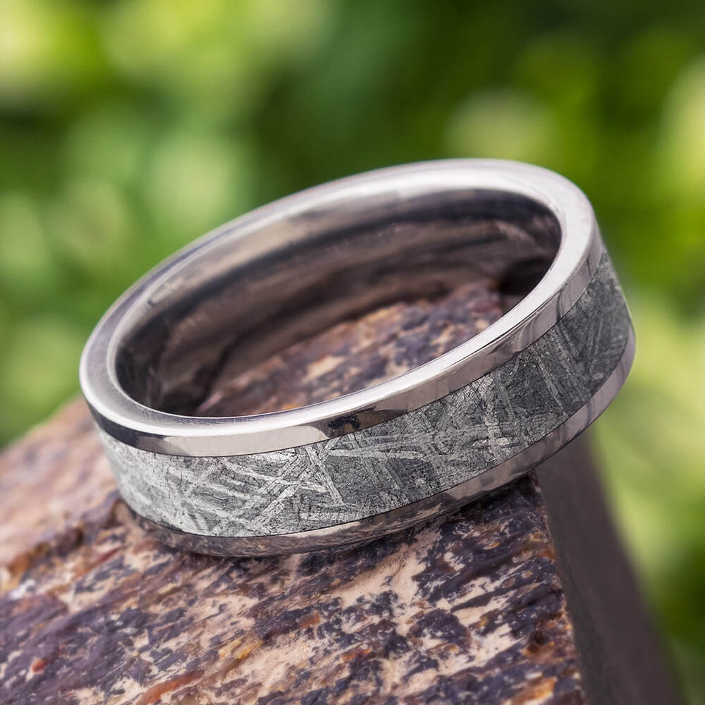 Gibeon Meteorite Ring for Man in Titanium, In Stock-SIG3013 - Jewelry by Johan